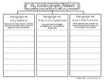 Autobiography Writing Planner and Templates | 3rd grade