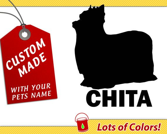 Personalized yorkie long haired breed vinyl decal with your dogs name any color custom
