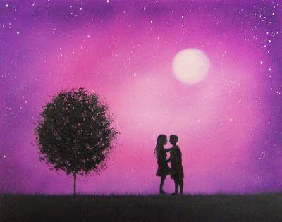 Silhouette Couple Painting Night Landscape Painting With Starry Sky 8 X 10 Original Oil Painting Pinturas Arte Fun
