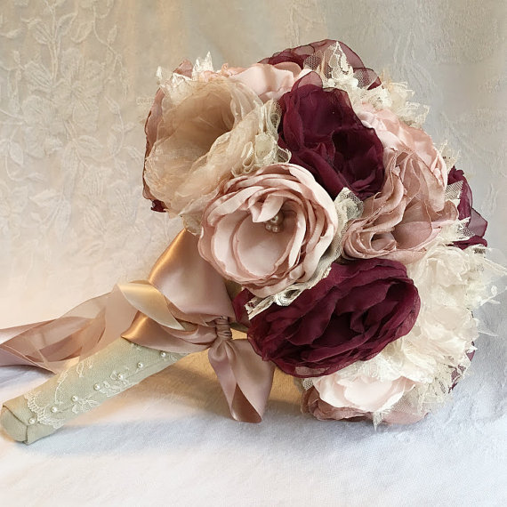 Fabric Flower Bridal Bouquet, Dusty Rose, Light Pink, Champagne and ...