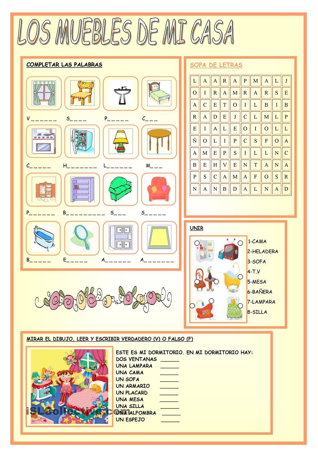 MY HOUSE FURNITURE | Spanish Instruction materials | Spanish ...
