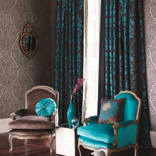 Turquoise And Brown Curtains Wallpaper