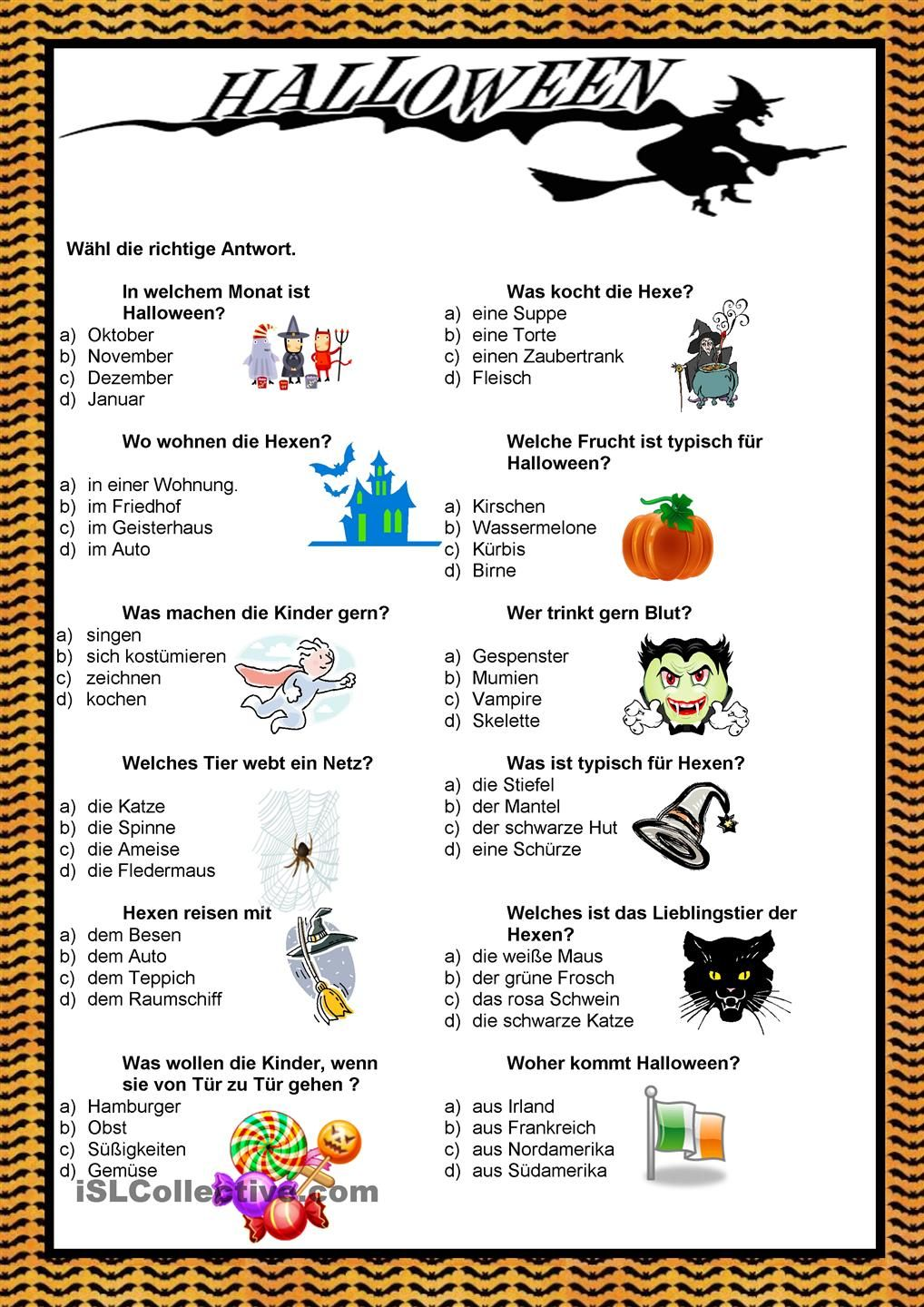 Halloween - Quiz | German | Pinterest | Worksheets
