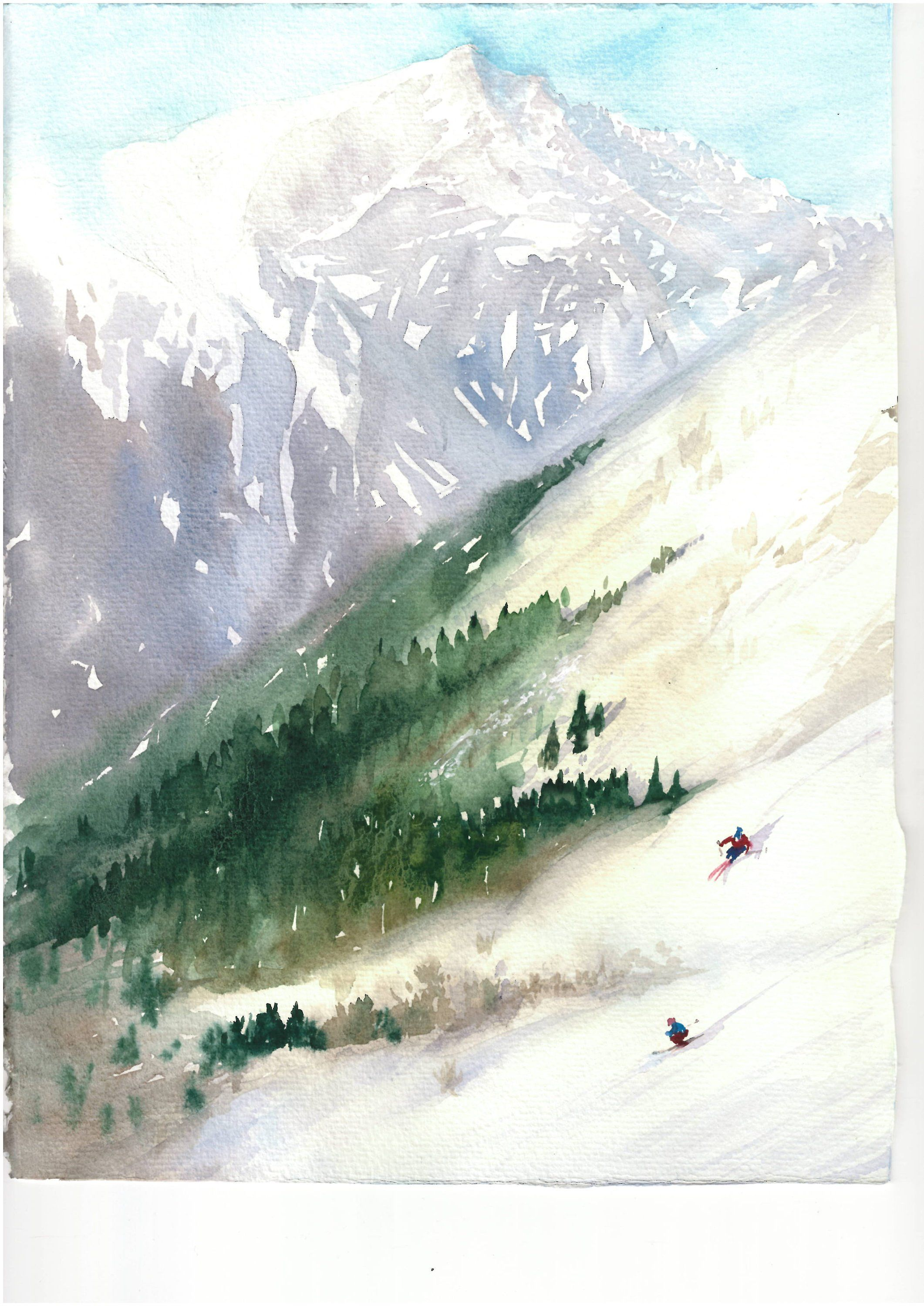 Watercolor Painting Skiing By Natalia Hoult By Nataliahoultarts