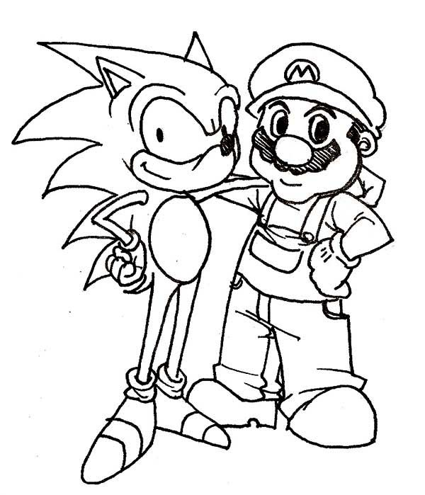 Sonic The Hedgehog And Mario Coloring Page Kids Play Color Mario Coloring Pages Super Mario Coloring Pages Coloring Pages