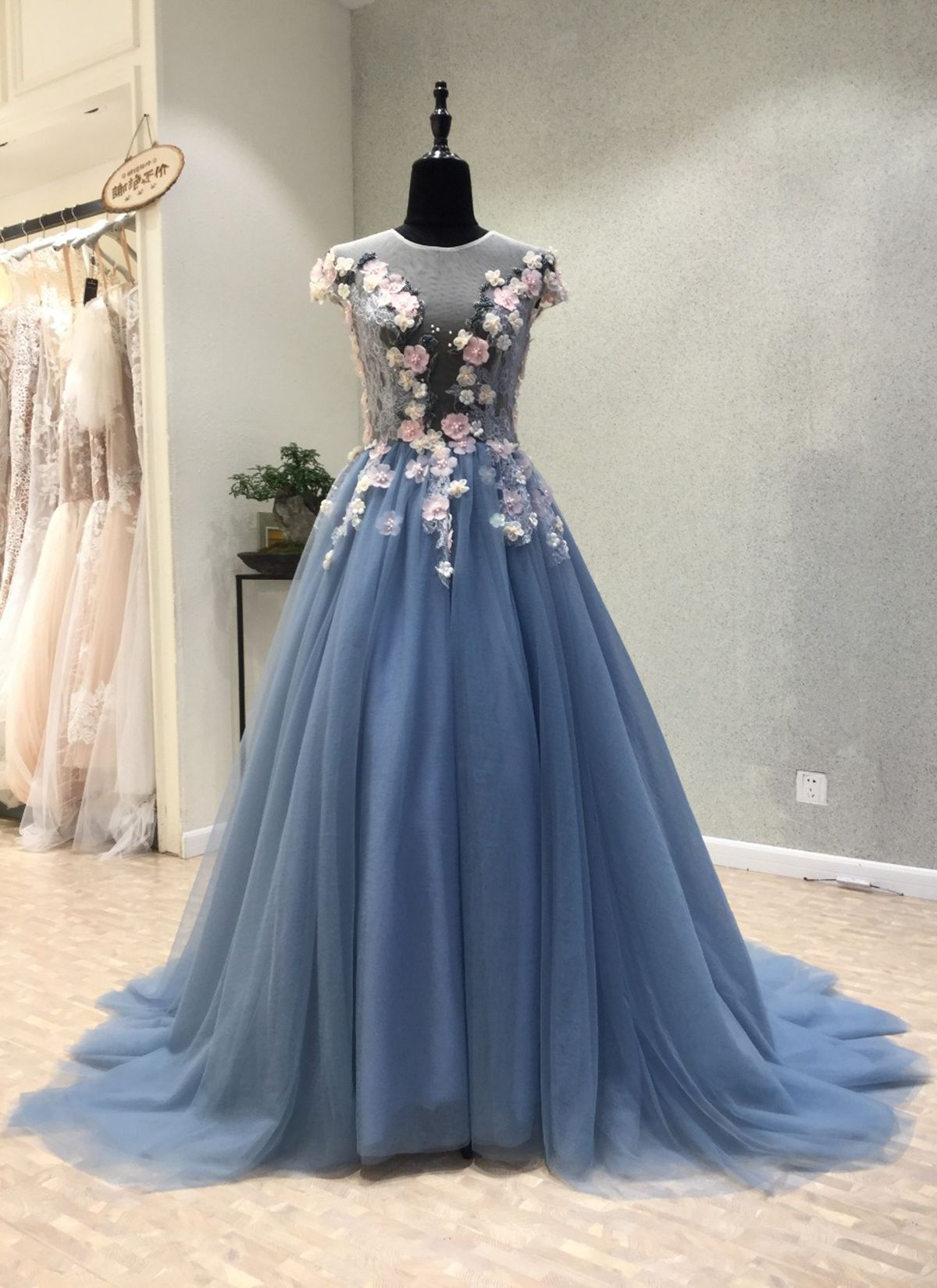 Blue Tulle See Through Back Long 3d Lace Flower Evening Dress Long