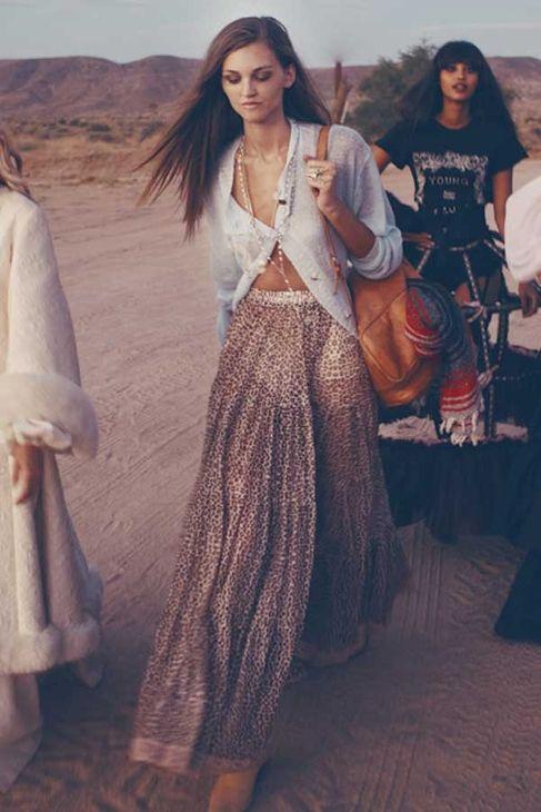 Falda bolso larga larga y hippie top gitana moderno boho chic wxSPZCqwR