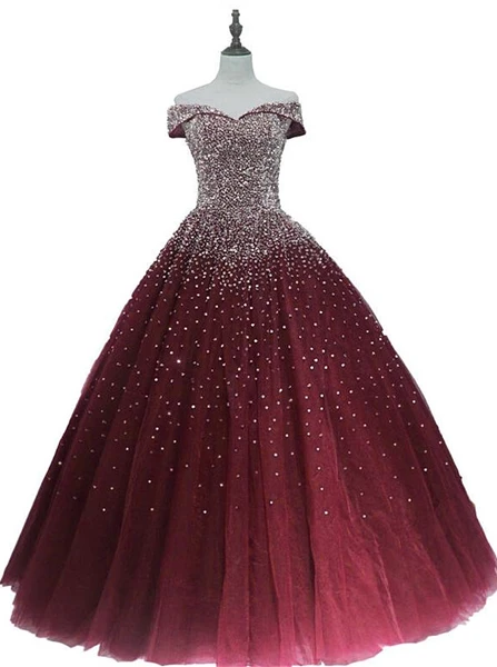 Charming Burgundy Sequins Long Quinceanera Dress, Prom Gown -   15 dress Quinceanera burgundy ideas