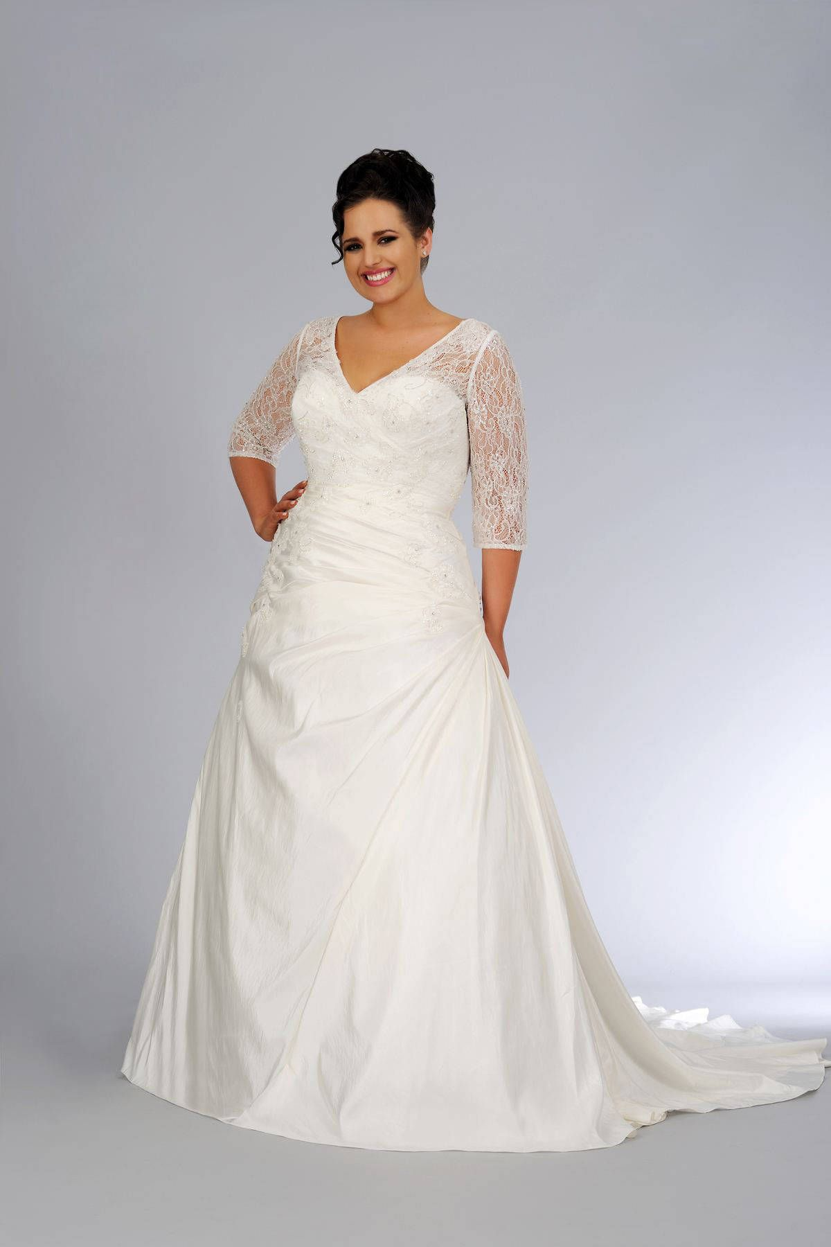 Plus Size 3 4 Sleeve Wedding Gown By Darius Bridal Plus Size Wedding Dresses With Sleeves Plus Size Bridal Dresses Custom Wedding Dress [ 1800 x 1200 Pixel ]