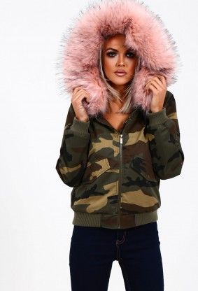 4c43adf59e813 Street Vibes Camo Print Pink Faux Fur Bomber Jacket | Colored faux ...