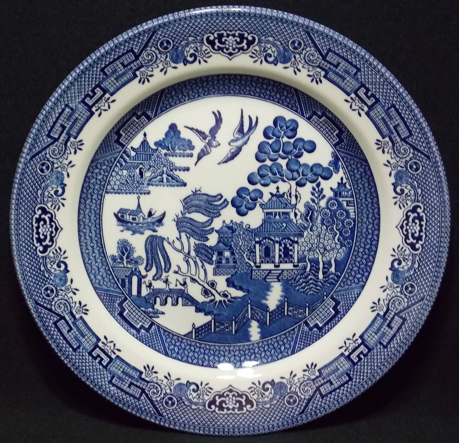 2 churchill china blue willow pattern bread /& butter plates