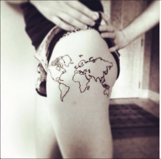 My newest piece i love love love it world map tattoo on my upper i love love love it world map tattoo on my upper thigh gumiabroncs Gallery