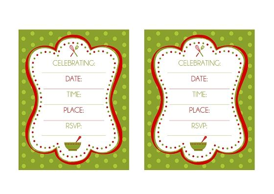 FREE Holiday Baking Party Printables from Printabelle Baking party - printable christmas invitation templates