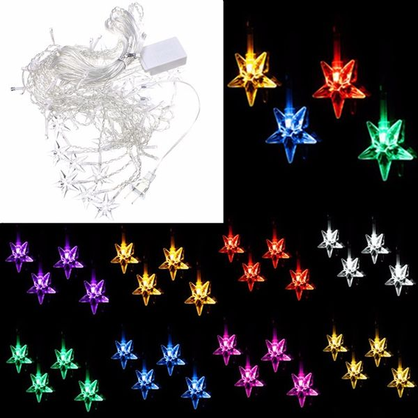 Multi 35M 100SMD Five-Pointed Star LED String Curtain Lights Xmas - outdoor christmas decorations wholesale