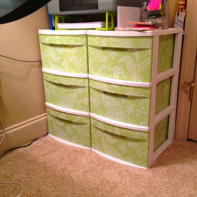 i used con tact shelf liner to cover my clear plastic. Black Bedroom Furniture Sets. Home Design Ideas