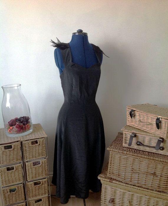 Stunning black customized vintage dress by Kittishiddentreasure, £17.99