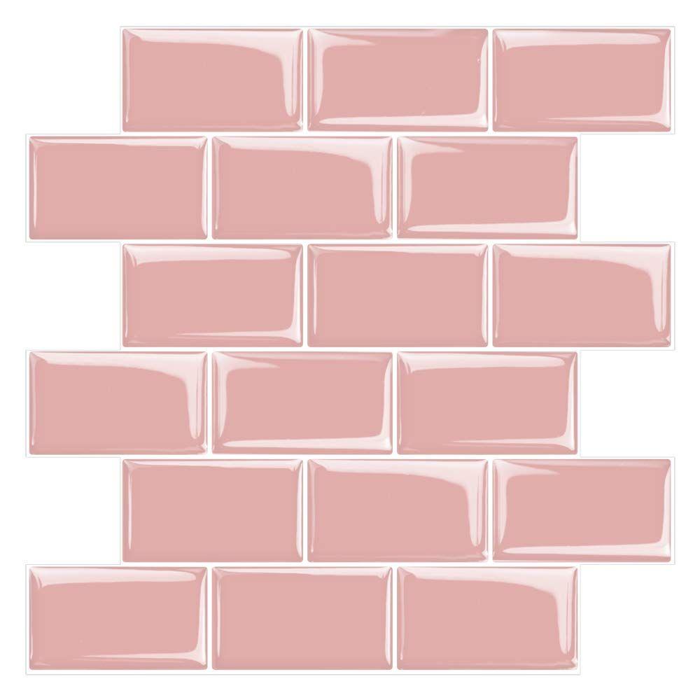 Stickgoo Subway Tiles Peel And Stick Backsplash Stick On Tiles Kitchen Backsplash In Pink Pack Of 10 Stick On Tiles Stick Tile Backsplash Peel And Stick Tile