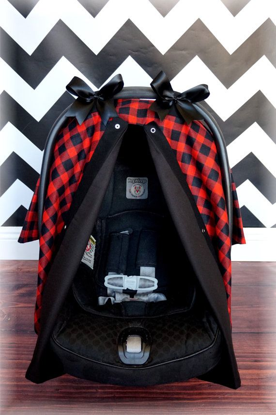 Red And Black Plaid Baby Carseat Canopy