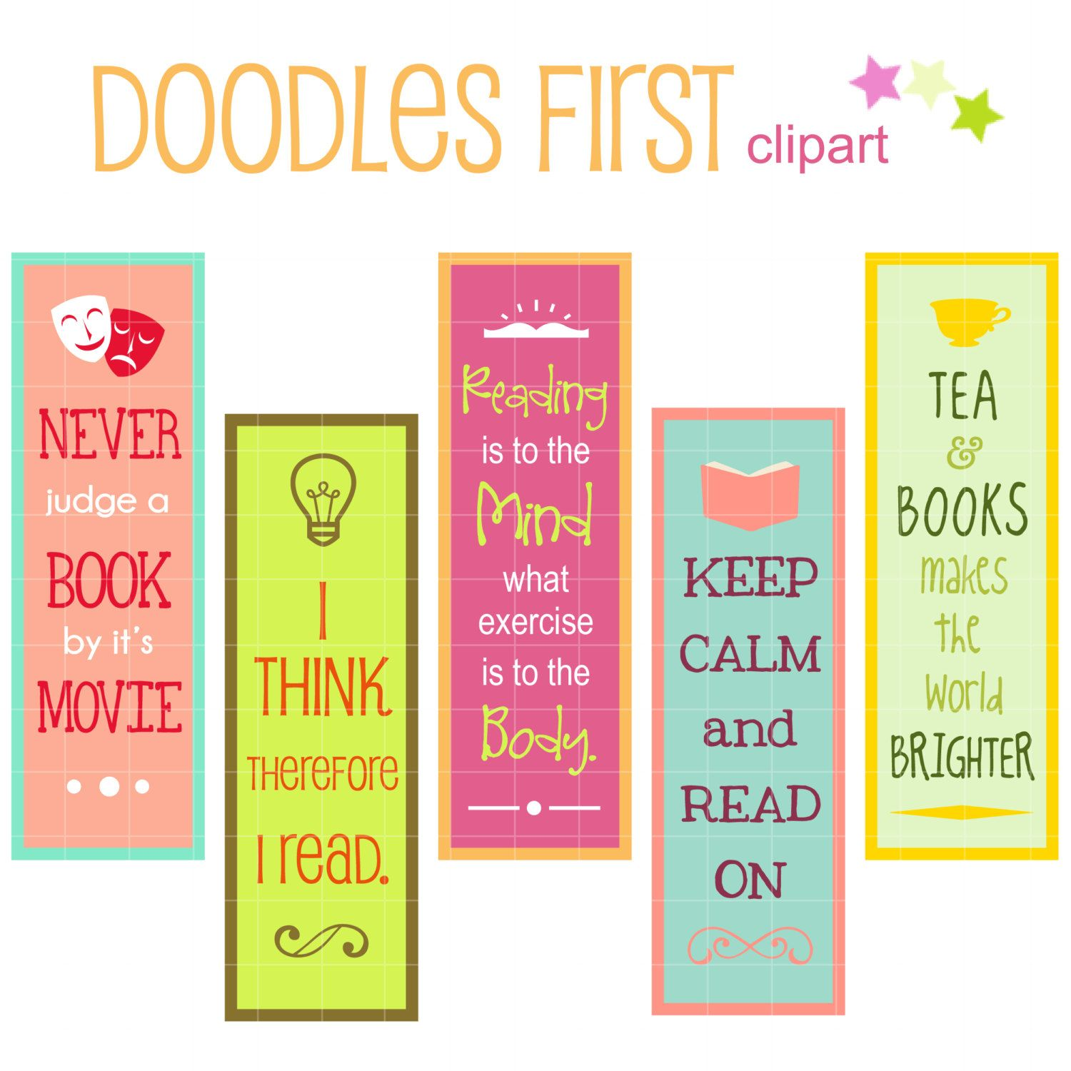 reading quotes bookmarks digital clip art for by doodlesfirst