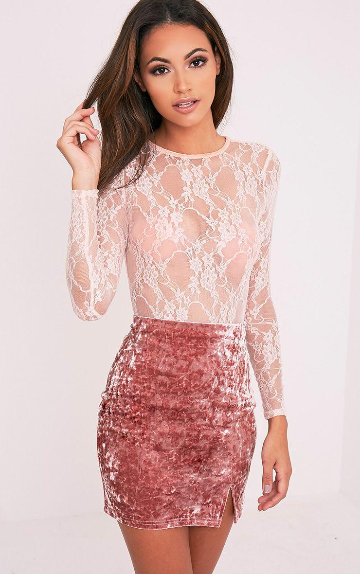 Sinead Dusty Pink Crushed Velvet Side Split Mini Skirt - Skirts ...