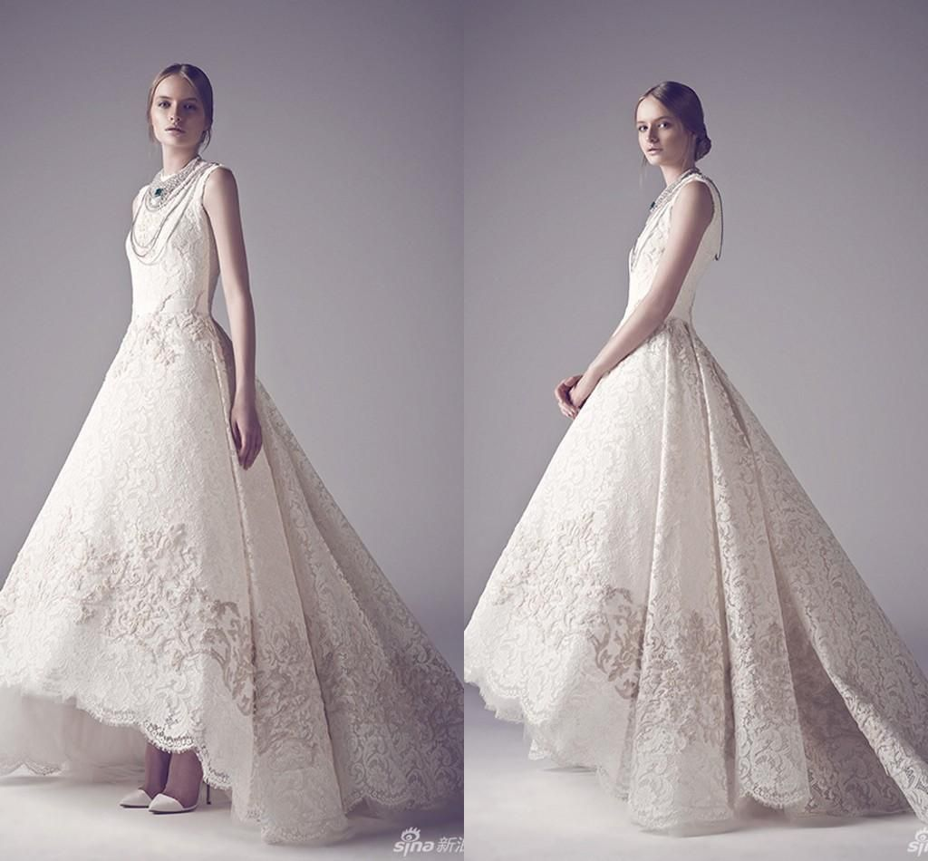 Victorian Gothic Wedding Dresses High Quality Brand New Vintage Lace Short Front Long Back Dress