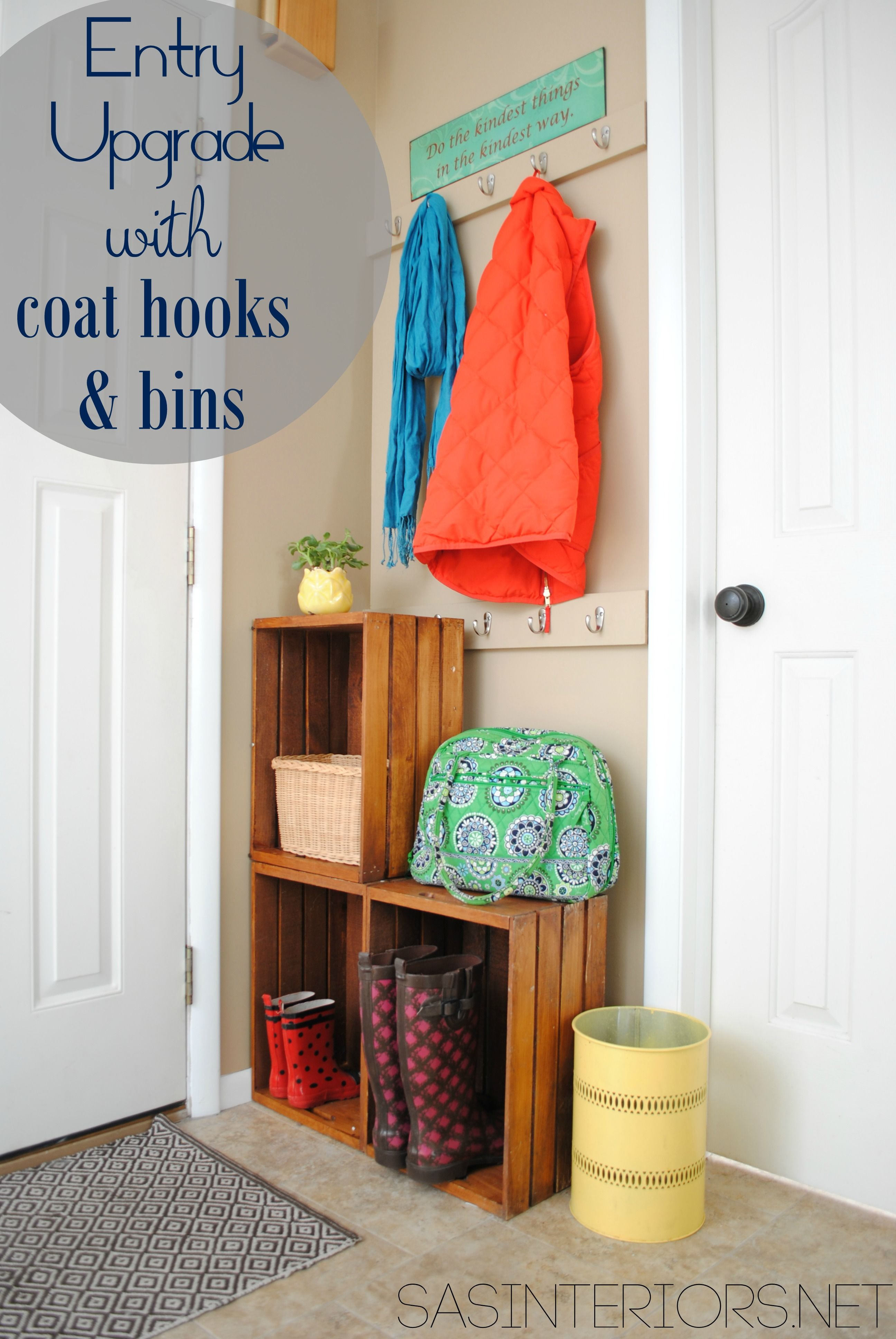 Easy entry upgrade with diy built in coat hooks and wooden crates easy entry upgrade with diy built in coat hooks and wooden crates via jennaburger amipublicfo Choice Image