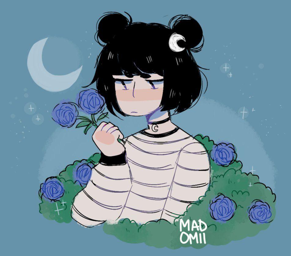I cry in my garden sometimes by madomii cartoon art