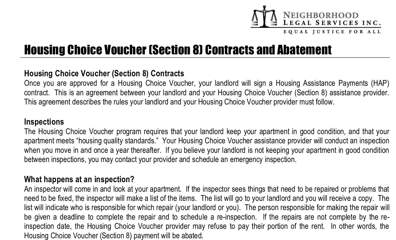 What is Section 8 abatement? In other words, the Housing