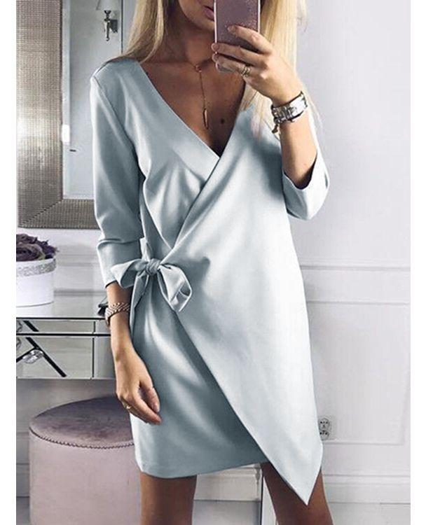 Light Dusty Blue Crossed Front V-neck Self-tie Mini Dress - US$21.95 -YOINS -   17 dress Wrap crosses ideas