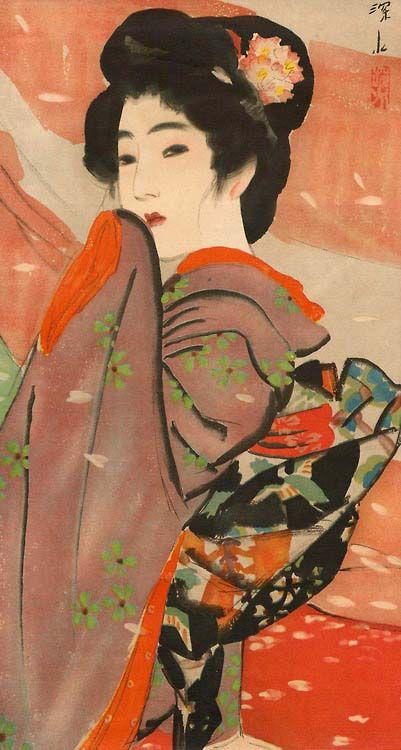 Itou Shinsui (1898-1972) 伊東深水 Beauty with Flower Ornament, 1910 .