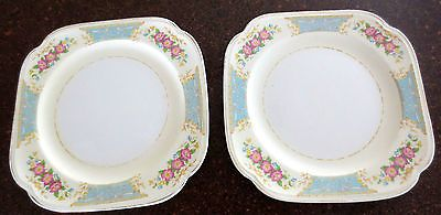 "Lot of 2 Edwin Knowles Square Sandwich Plates 7 1 4"" Vintage 