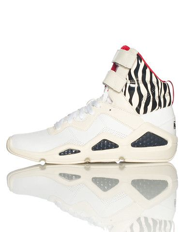 reebok high top sneaker lace and velcro strap front
