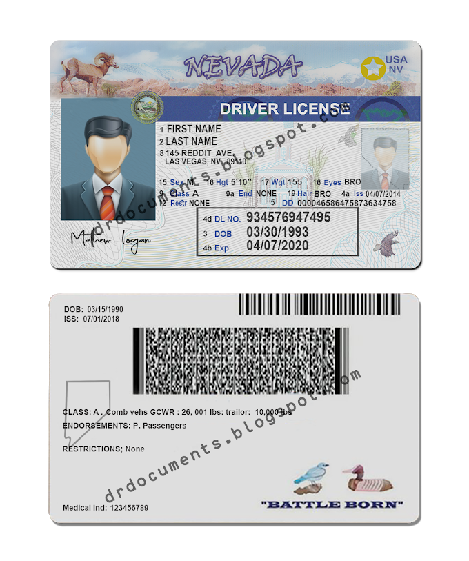 Nevada Drivers License Template Editable In 2021 Drivers License Nevada Templates