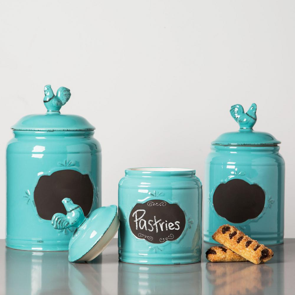 Home Essentials And Beyond Aqua Ceramic Chalkboard Canisters Set