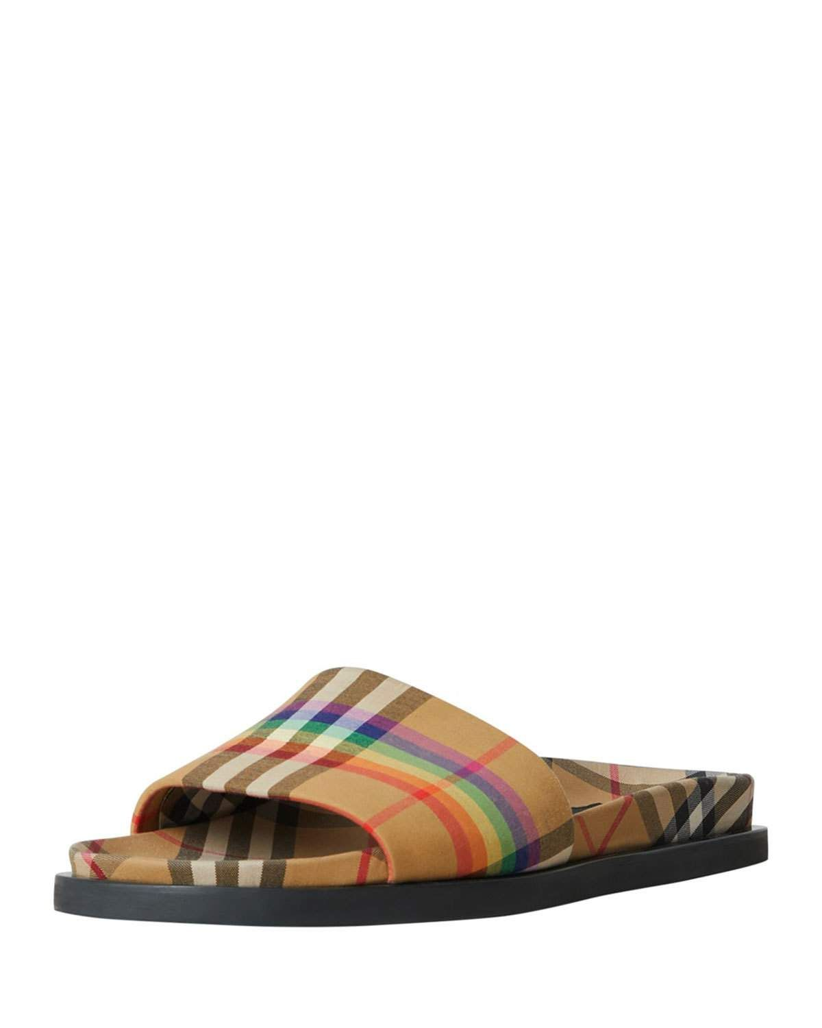 1d6c960f88ca58 Burberry Ashmore Low-Top Rainbow Check Slide Sandal