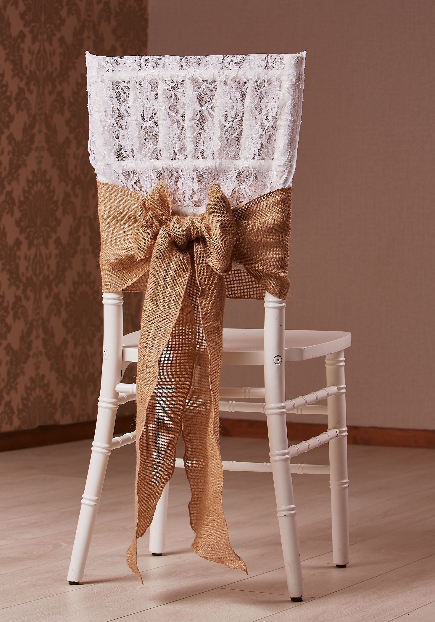 LACE AND HESSIAN CHAIR CAP AND BOW ON CHIAVARI CHAIR STYLED BY