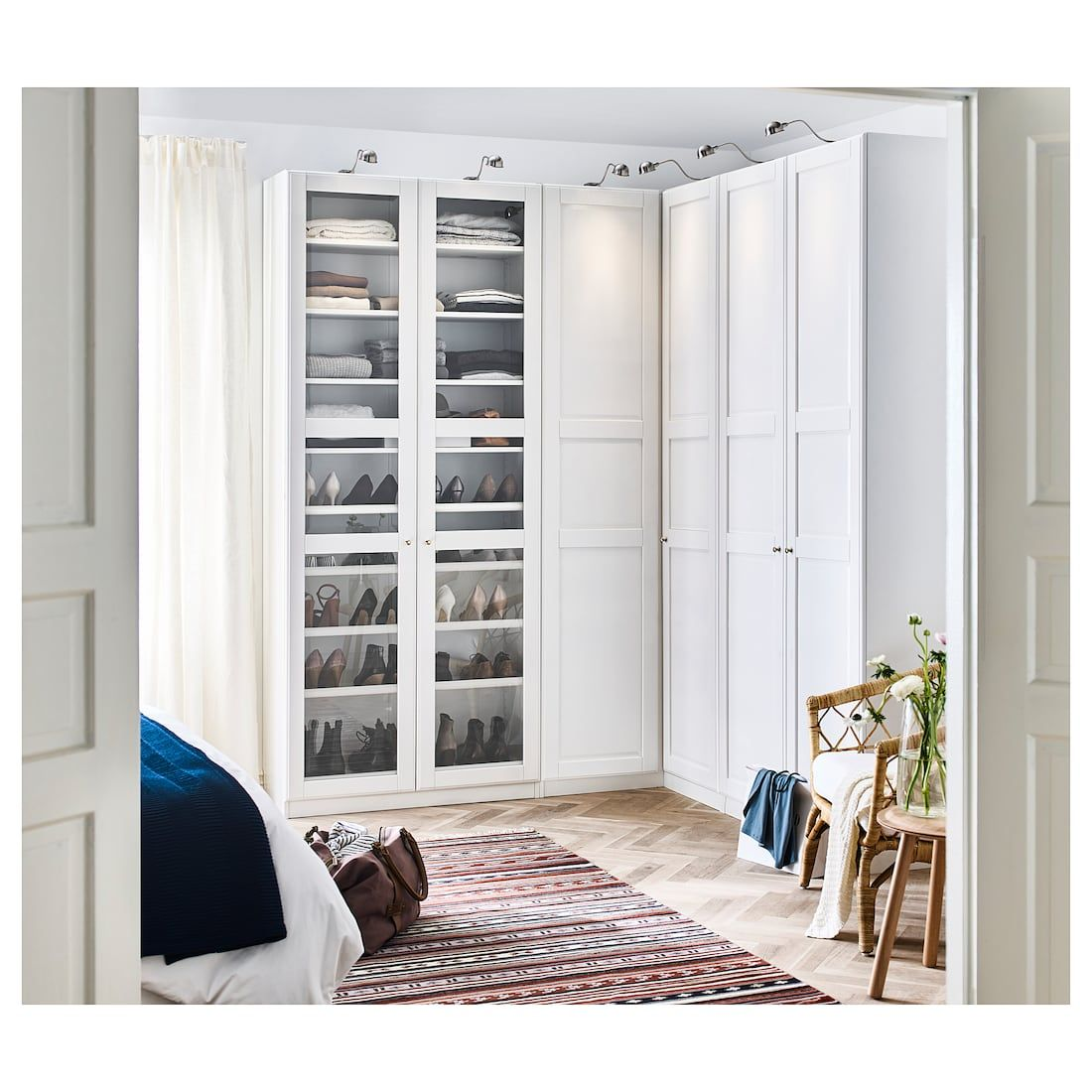 Pax Armoire D Angle Blanc Tyssedal Tyssedal Verre 210 188x236 Cm Penderie D Angle Idee Chambre Dressing Chambre