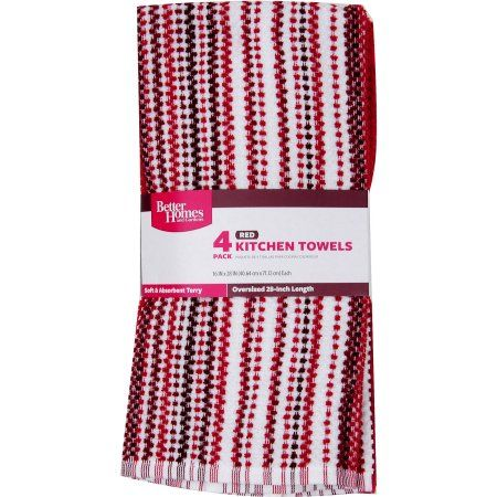 Better Homes And Gardens Kitchen Towels 4pk Red Kitchen Towels