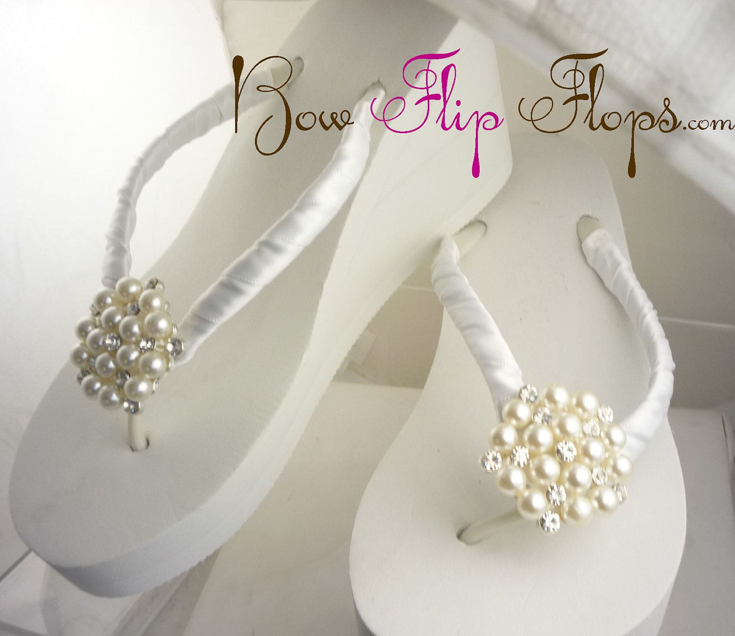 321e9443c Wedge Bridal Flip Flops Rhinestone Ivory White Satin Pearl Rhinestone  Wedding Bride platform heel Wedding Ribbon