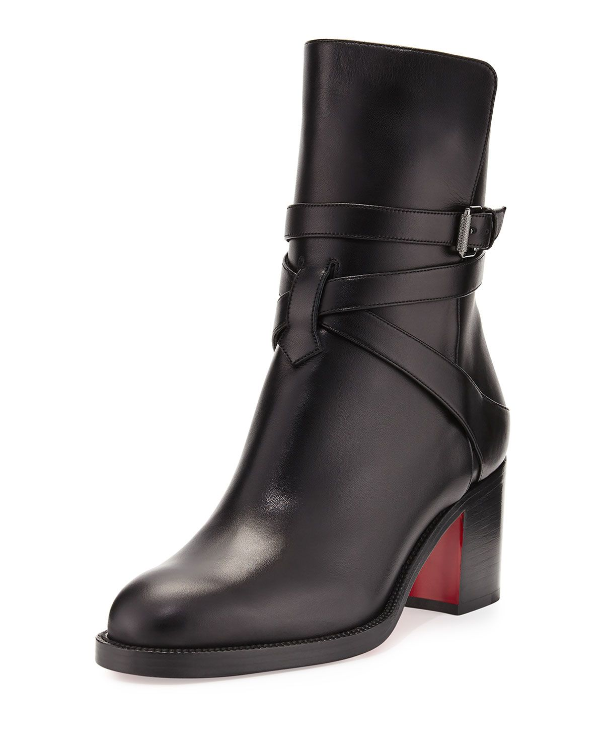best service 4eeb6 be914 Christian Louboutin Karistrap Leather 70mm Red Sole Ankle ...