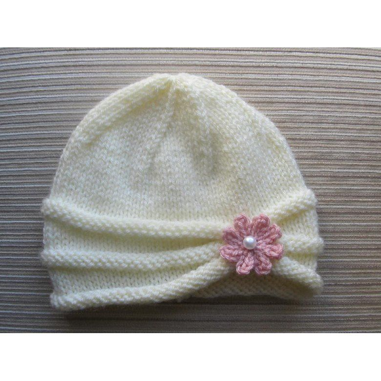 Rolled Brim Hat With A Flower For A Baby 6 9 Months And Toddler 2 4 Years Knitting Pattern By Yelena Chen Knitting Baby Hats Knitting Knitting Patterns
