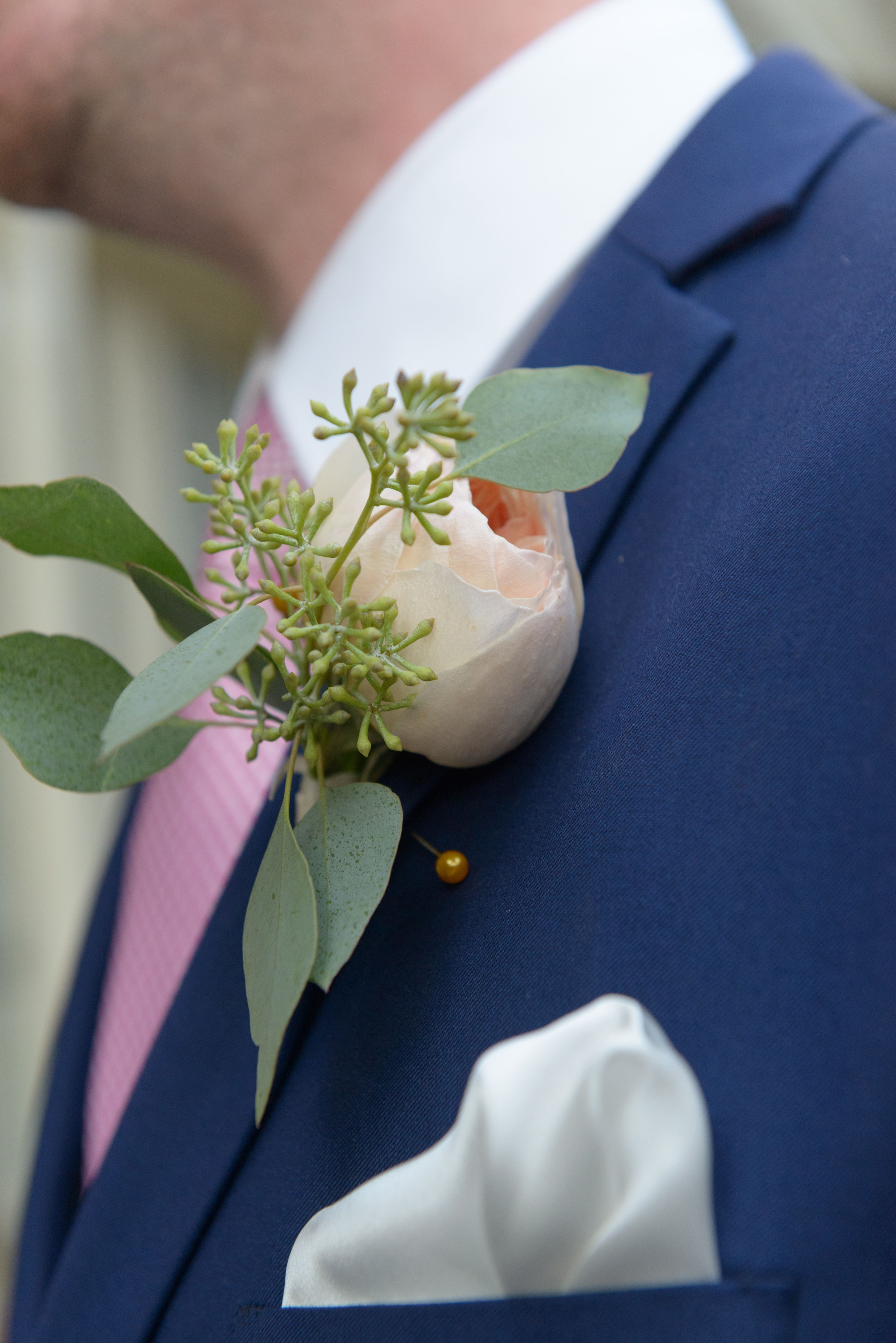 Groom's boutonniere: David Austin peach Juliet rose and seeded eucalyptus.  Brooklyn Wedding summer modern    Photo by Mariliana for Stylish&Hip Wedding Photography