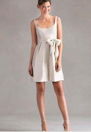 Discount Satin Scoop A-Line Short Bridesmaid Dress Free Measurement
