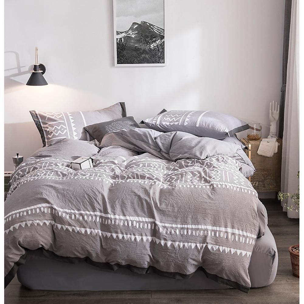 Duvet Cover Sets Stripes Ripples Polyester Printed 4 Piece