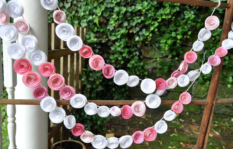 Garland Pink Paper Flower Garland shower birthday party nursery