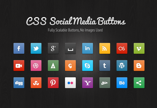 Social media buttons created entirely with CSS3. No images