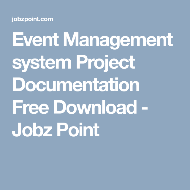 Event Management system Project Documentation Free Download