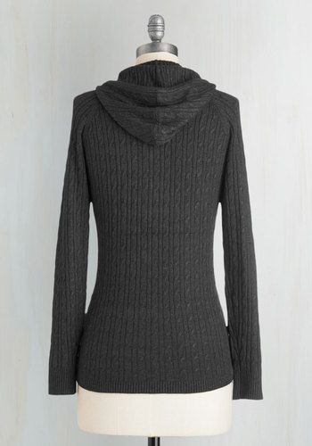 The chill in the air has met its match with this cable-knit sweater! A lightweight knit and goes-with-everything charcoal hue help to make this zippered layer the one you always choose when you're heading out for both work and play.
