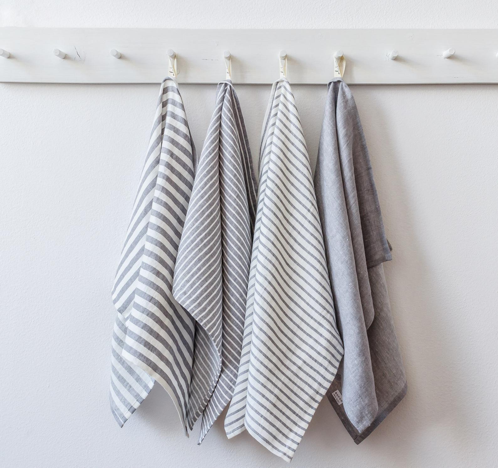 Gray linen tea towels modern farmhouse kitchen towels gray