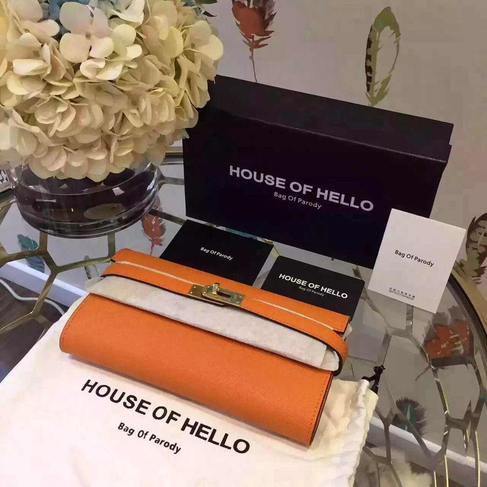 House of Hello Kelly Wallet Epsom Leather Resort 2015 Collection, Light Orange - Shop Ms Fashion Junkie